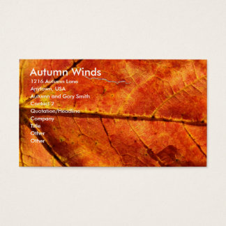 Autumn Winds , Autumn Leaf Macro Photo Business Card
