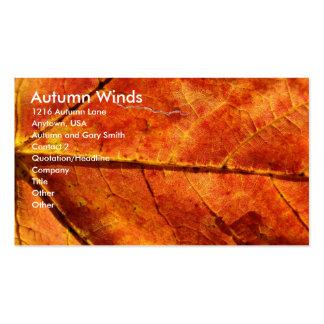 Autumn Winds , Autumn Leaf Macro Photo Business Card