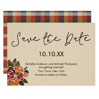 Autumn Wine Rose Floral Save the Date Card