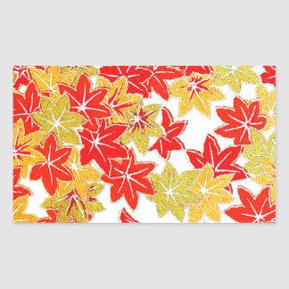 Autumn winter Leafs natural  Green Trees Earth Bea Rectangle Sticker