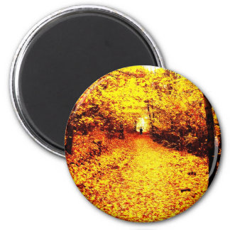 Autumn winter Leafs natural natural  Green Trees E 6 Cm Round Magnet