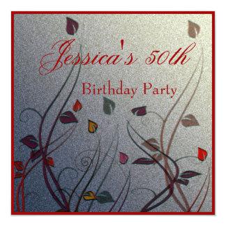 Autumn Wispy Leaf Floral 50th Birthday 13 Cm X 13 Cm Square Invitation Card