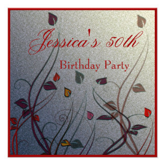 Autumn Wispy Leaf Floral 50th Birthday Personalized Announcements