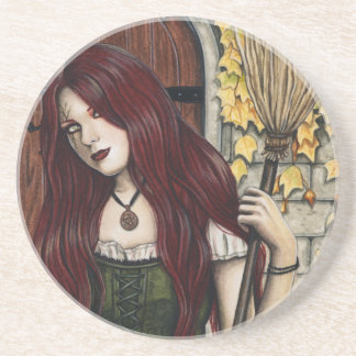 Autumn Witch Gothic Fantasy Art Coaster