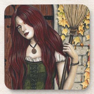 Autumn Witch Gothic Fantasy Art Coasters