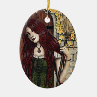 Autumn Witch Gothic Fantasy Art Ornament