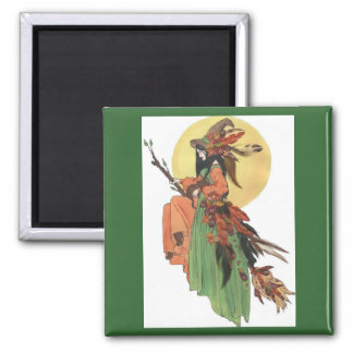 Autumn Witch Square Magnet