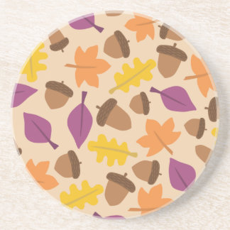 autumn with acorn and oak leaves coaster