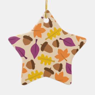 autumn with acorn and oak leaves double sided ceramic ornament