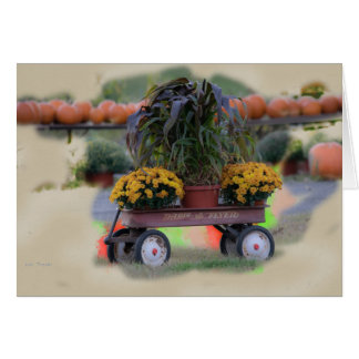Autumn with Antique Radio Flyer Cart Card