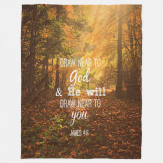 Autumn with Verse: Draw Near to God Fleece Blanket