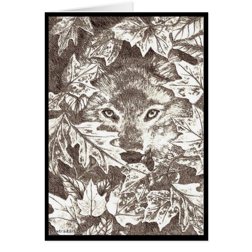 Autumn Wolf Card