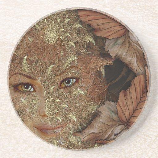Autumn Wood Nymph Sandstone Coaster