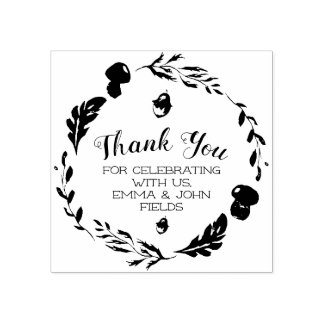 Autumn Woodland Wreath Thank You Rubber Stamp