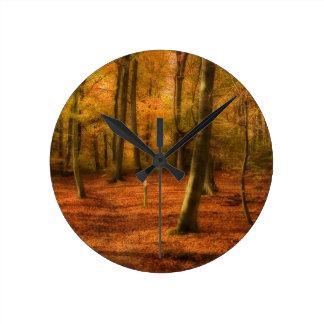 Autumn woods wallclock