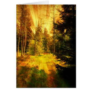 Autumn Woods Fire Storm. Greeting Card