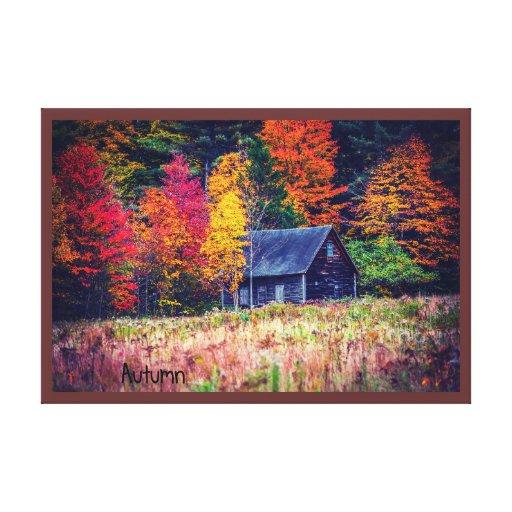 Autumn Woods Shack Canvas Print