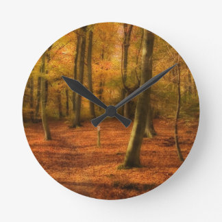 Autumn woods wallclocks