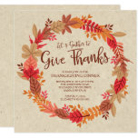 Autumn Wreath Give Thanks Thanksgiving Dinner 13 Cm X 13 Cm Square Invitation Card
