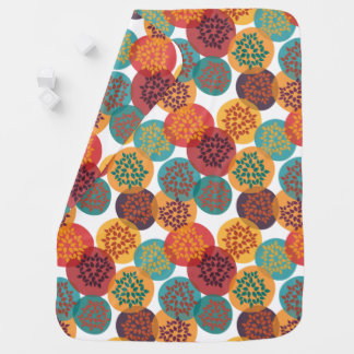 Autumn yellow green turquoise leaves pattern baby blanket