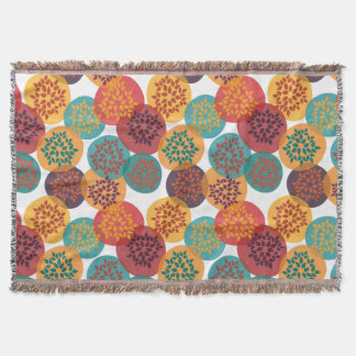 Autumn yellow green turquoise leaves pattern throw blanket