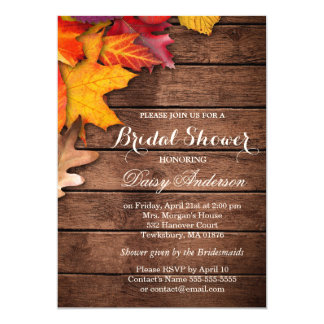 Autumnal Bridal Shower Rustic Country Wood Maple 13 Cm X 18 Cm Invitation Card