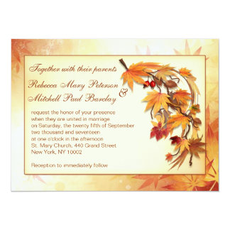 Autumnal leaves Wedding Card