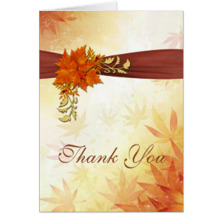 Autumnal leaves Wedding Thank You Card