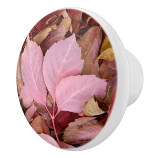 Autumnal Red Leaves Dresser Knob