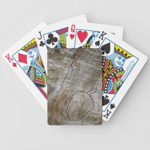 Autumnal themed acorn engraved in wood bicycle poker cards