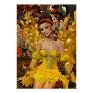 Autumn's Dance Fae Fantasy Art Poster