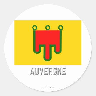 Auvergne flag with name round sticker