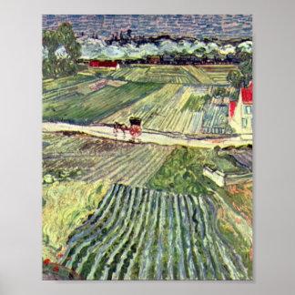 Auvers in the Rain-landscape by Vincent van Gogh Poster