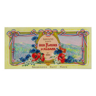 Auz Fleurs D' Alsace Soap LabelParis, France Poster