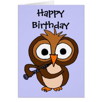 AV- Owl Playing Clarinet Birthday Card