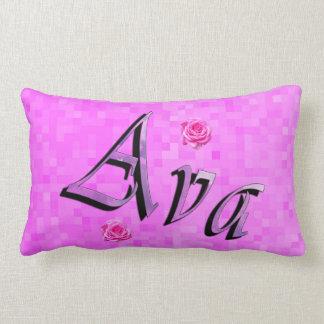 Ava Name Logo, On Pastel Pink Mosaic Lumbar Cushion