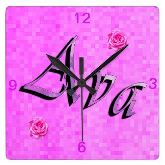 Ava Name Logo, Square Wall Clock