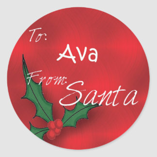 Ava Personalized Holly Gift Tags From Santa