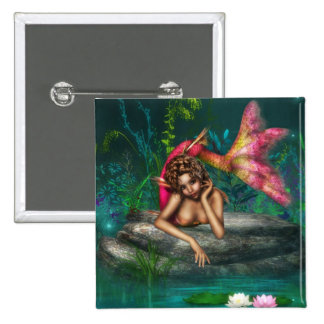 Ava the Pink Mermaid 15 Cm Square Badge