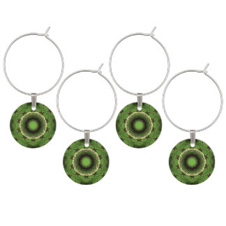Avacado green with black color pattern wine charm