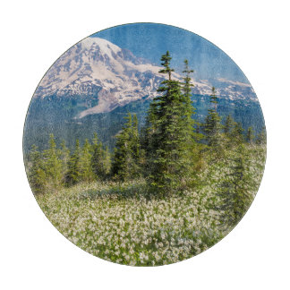Avalanche lilies and Mount Rainier Cutting Boards