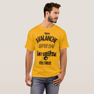Avalanche Super Bar Marquette - Blue on Gold Shirt
