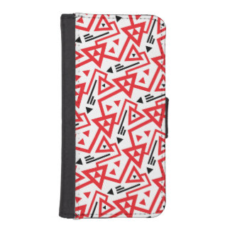 Avant-garde bright red and black geometric pattern iPhone SE/5/5s wallet case
