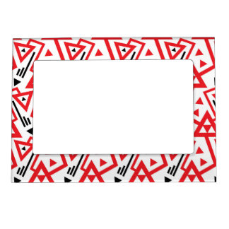 Avant-garde bright red and black geometric pattern magnetic frame