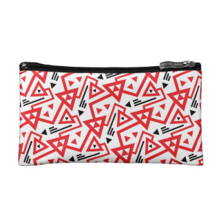 Avant-garde bright red and black geometric pattern makeup bag