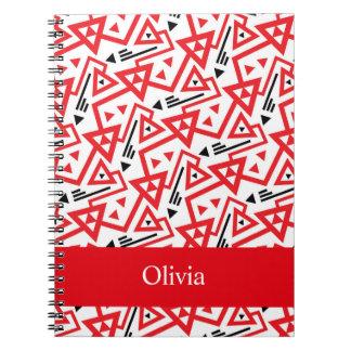 Avant-garde bright red and black geometric pattern notebooks