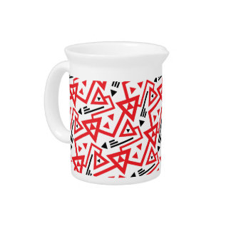 Avant-garde bright red and black geometric pattern pitcher