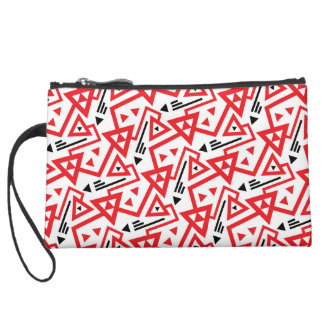 Avant-garde bright red and black geometric pattern suede wristlet