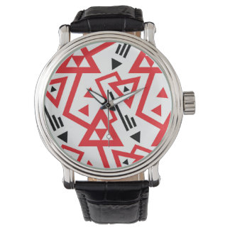 Avant-garde bright red and black geometric pattern watch