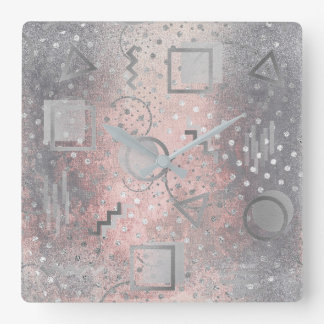 Avantgarde Retro Zig Zag Dots Silver Grungy Pink Wall Clocks